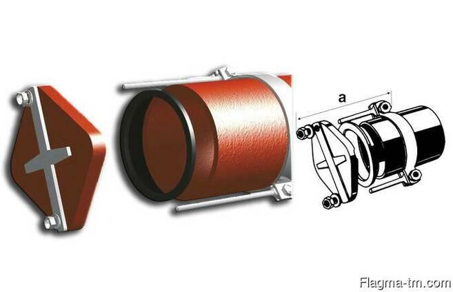 Безраструбная заглушка с прижимными скобами 150 мм Pam-Globa