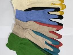 Перчатки рабочие, полу резиновые и без резины